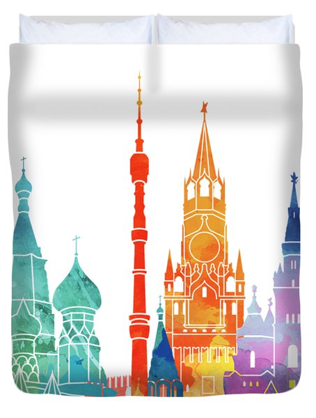 Paris Landmarks Watercolor Poster Duvet Cover