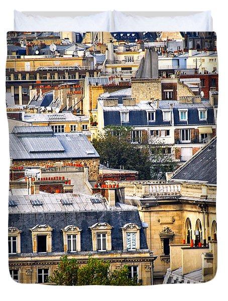 Paris Rooftops Duvet Cover by Elena Elisseeva