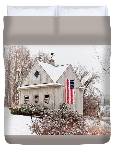 Patriotic Barn Duvet Cover by Tricia Marchlik