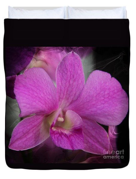 Duvet Cover featuring the photograph Pink Orchid by Yumi Johnson