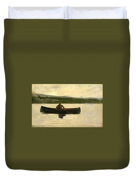 Duvet Cover featuring the painting Playing A Fish by Winslow Homer