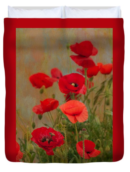 Poppies Duvet Cover by Carolyn Dalessandro