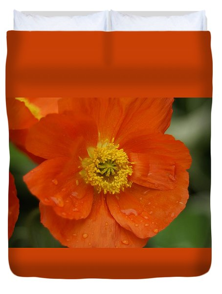 Duvet Cover featuring the photograph Poppy by Heidi Poulin