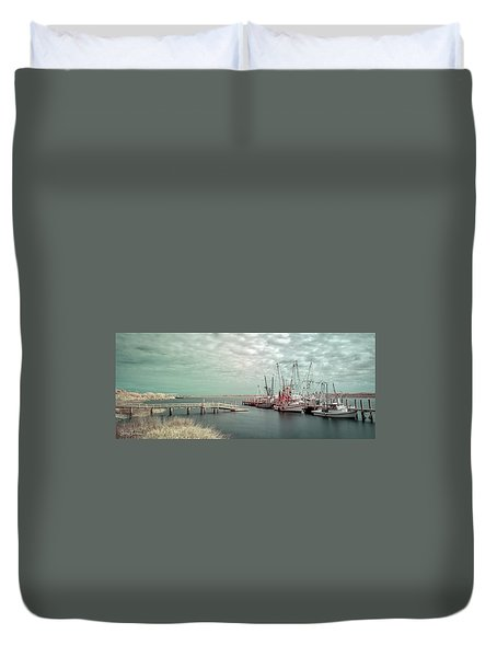 Port Royal Shrimp Boats Duvet Cover