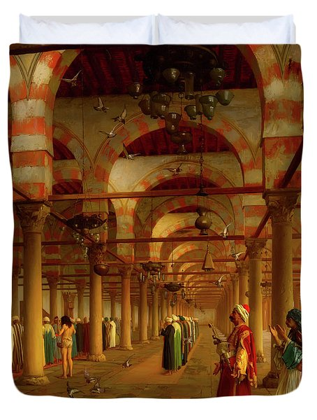 Duvet Cover featuring the painting Prayer In The Mosque by Jean-Leon Gerome