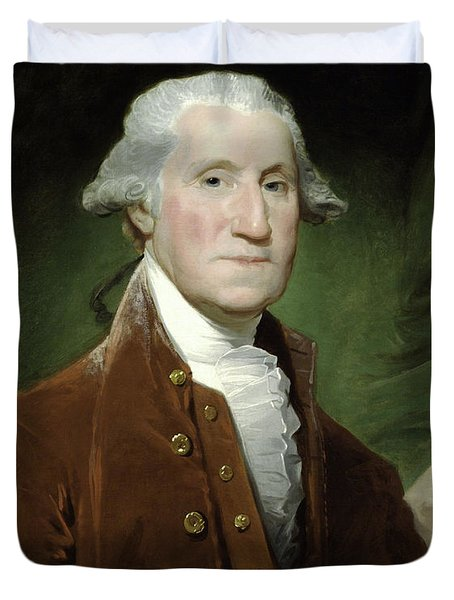 Duvet Cover featuring the mixed media President George Washington by War Is Hell Store