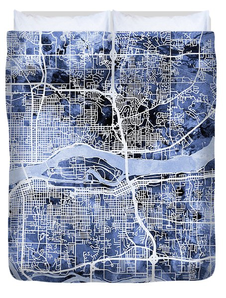 Quad Cities Street Map Duvet Cover