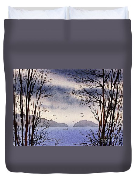 Duvet Cover featuring the painting Quiet Shore by James Williamson