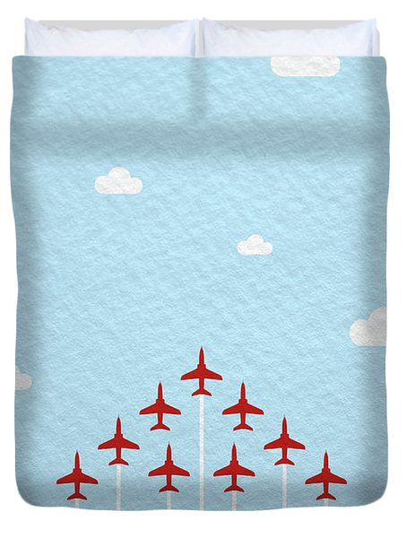 Raf Red Arrows In Formation Duvet Cover