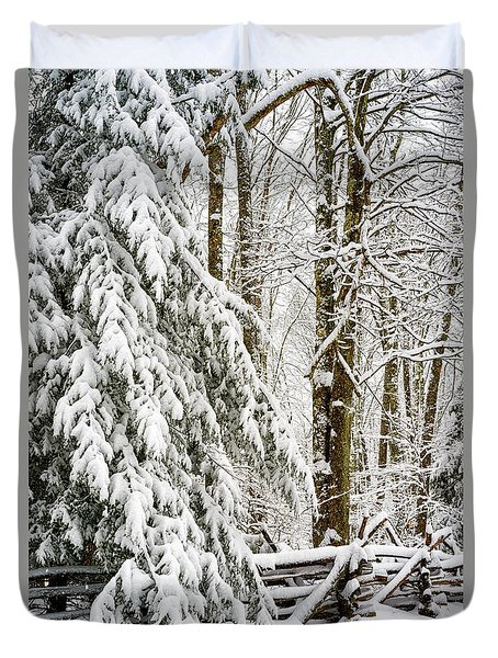 Duvet Cover featuring the photograph Rail Fence And Snow by Thomas R Fletcher