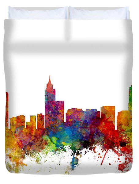 Raleigh North Carolina Skyline Duvet Cover