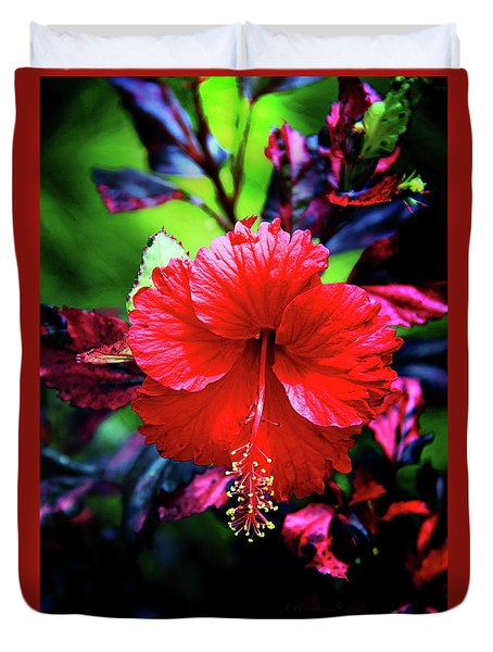 Red Hibiscus 2 Duvet Cover