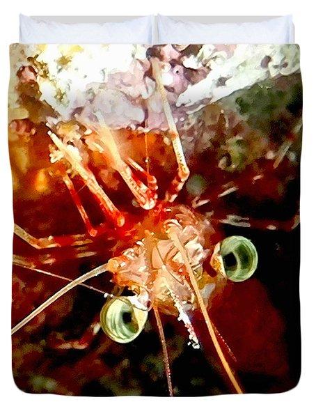 Red Night Shrimp Duvet Cover