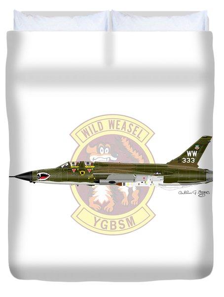 Republic F-105g Wild Weasel Duvet Cover by Arthur Eggers