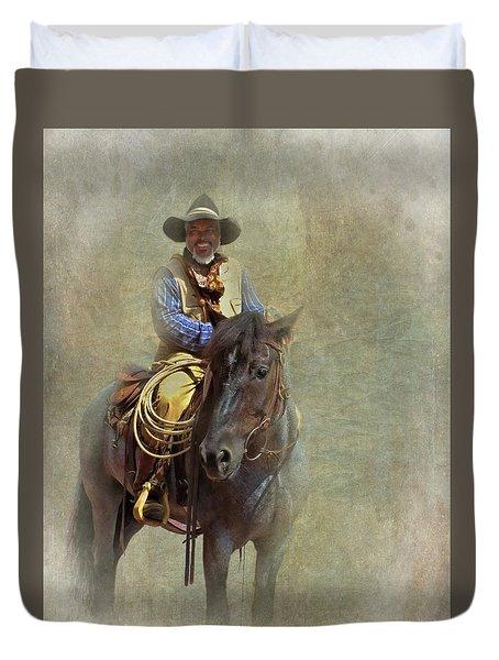 Duvet Cover featuring the photograph Ride Em Cowboy by David and Carol Kelly