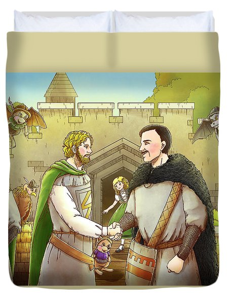 Robin Hood And The Captain Of The Guard Duvet Cover by Reynold Jay