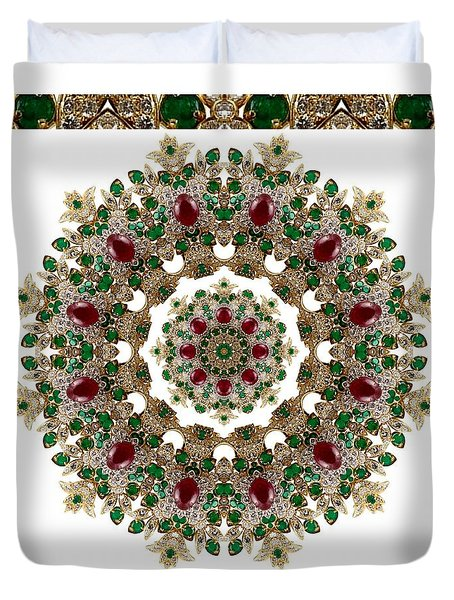 Ruby And Emerald Kaleidoscope Duvet Cover