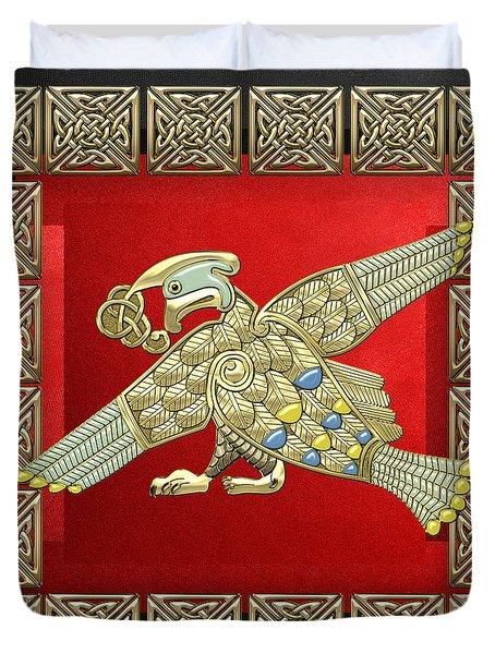 Sacred Celtic Bird On Red And Black Duvet Cover