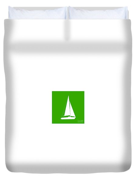 Sailboat In Green And White Duvet Cover
