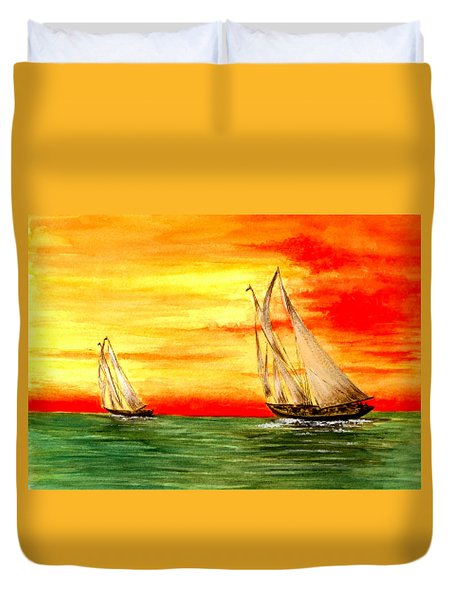 2 Sailboats Duvet Cover by Michael Vigliotti