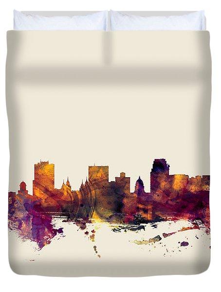 Salt Lake City Skyline Duvet Cover