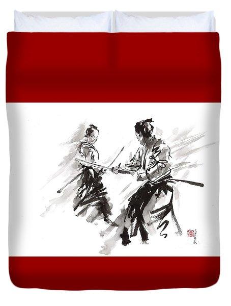 Samurai Fight Duvet Cover