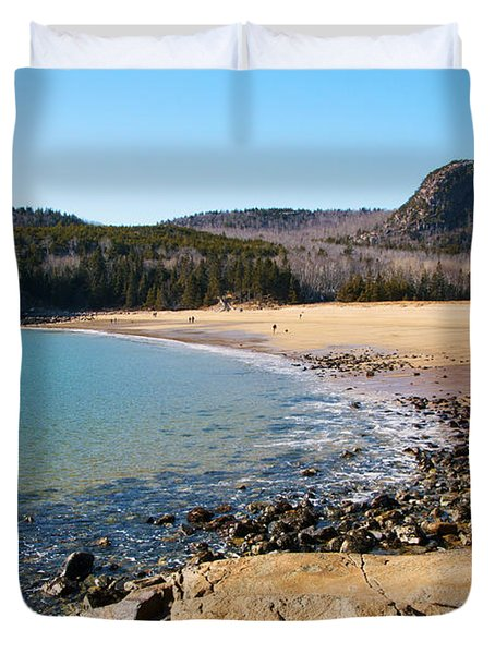 Sand Beach Acadia National Park Duvet Cover