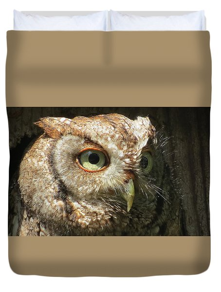 Duvet Cover featuring the photograph Sanibel Screech Owl by Melinda Saminski