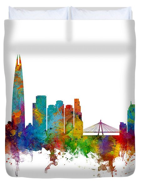 Seoul Skyline South Korea Duvet Cover