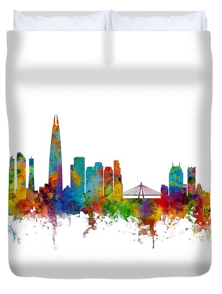 Duvet Cover featuring the photograph Seoul Skyline South Korea by Michael Tompsett