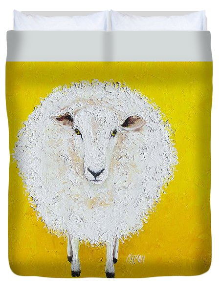 Sheep Painting On Yellow Background Duvet Cover