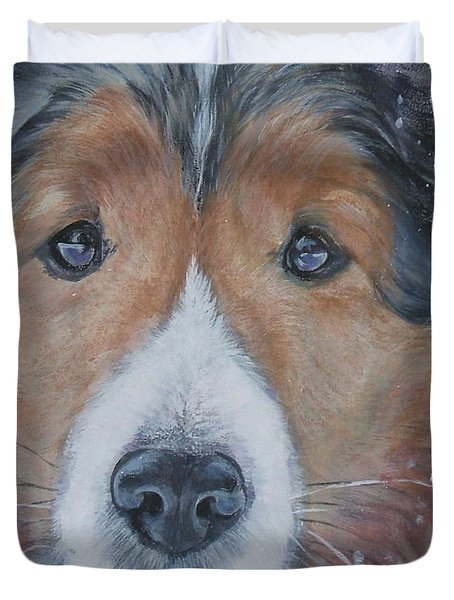 Shetland Sheepdog Duvet Cover by Lee Ann Shepard