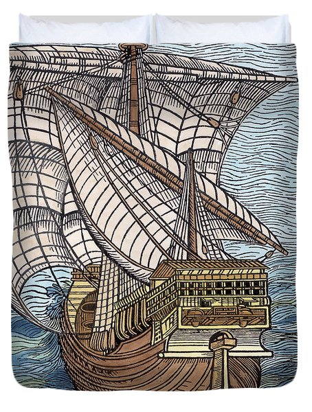 Ship From The Time Of Christopher Columbus Duvet Cover