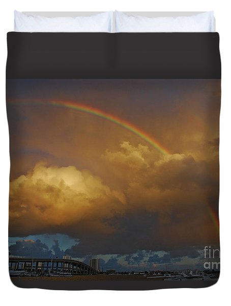 Duvet Cover featuring the photograph 2- Singer Island Stormbow by Rainbows