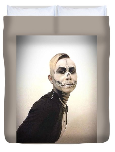 Skull And Tux Duvet Cover by Kent Chua