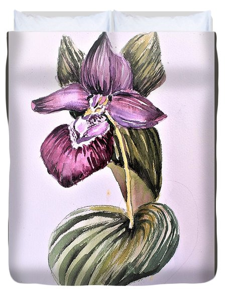 Duvet Cover featuring the painting Slipper Foot Orchid by Mindy Newman