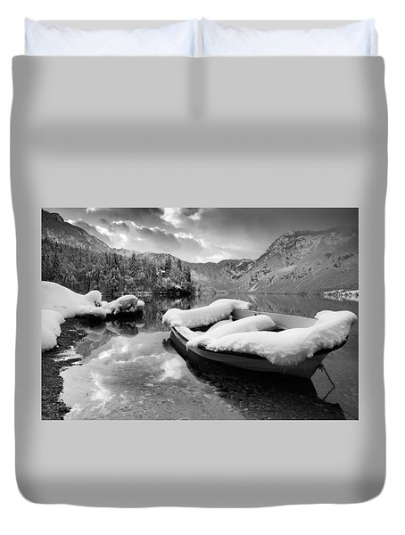 Duvet Cover featuring the photograph Snow Covered Boat On Lake Bohinj In Winter by Ian Middleton