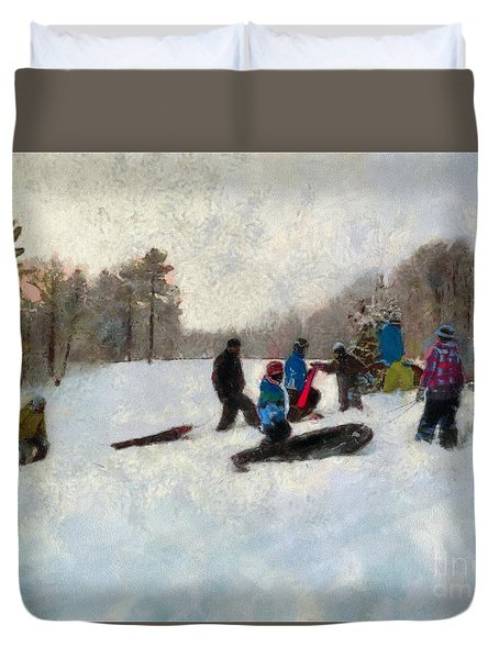 Snow Day Duvet Cover by Claire Bull