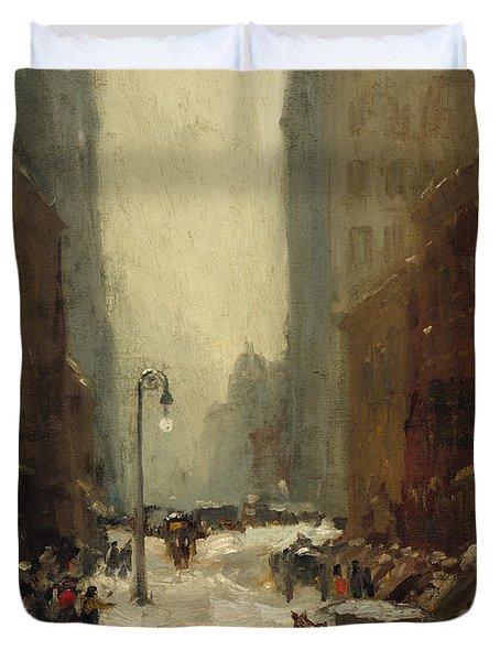 Snow In New York Duvet Cover