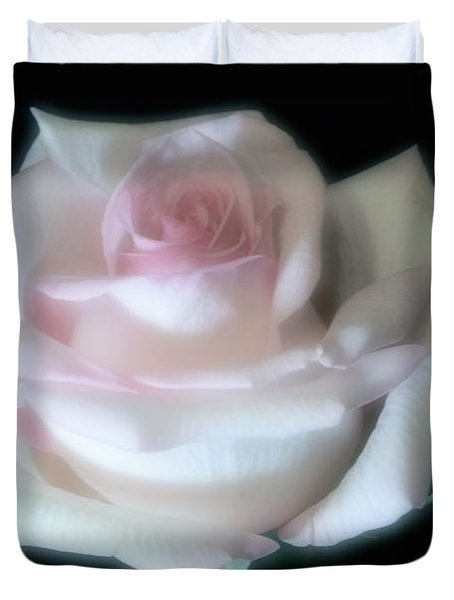 Soft Pink Rose Bud Duvet Cover by Jeannie Rhode