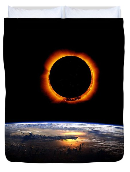 Solar Eclipse From Above The Earth Duvet Cover