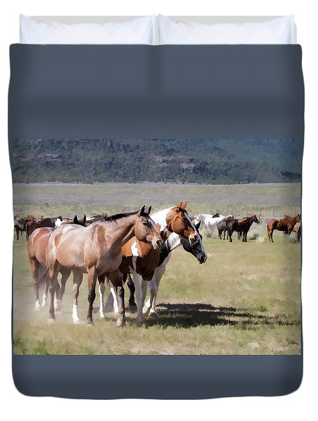 Duvet Cover featuring the digital art Sombrero Ranch Horse Drive, An Annual Event In Maybell, Colorado by Nadja Rider