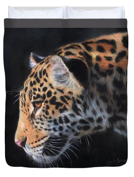 Duvet Cover featuring the painting South American Jaguar by David Stribbling