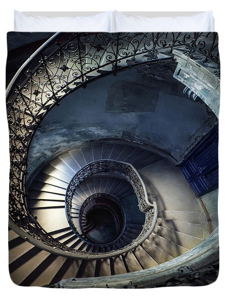 Spiral Staircase With Ornamented Handrail Duvet Cover by Jaroslaw Blaminsky