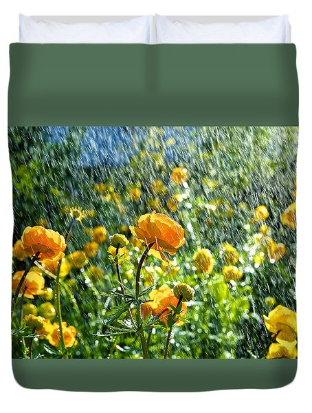 Spring Flowers In The Rain Duvet Cover