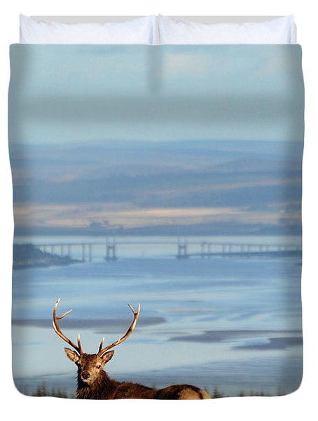 Stag Overlooking The Beauly Firth And Inverness Duvet Cover