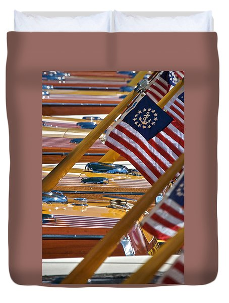 Stars And Stripes On The Water Duvet Cover