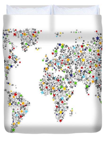 Stars Map Of The World Map Duvet Cover