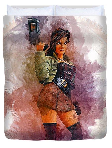 Steampunk Girl Duvet Cover