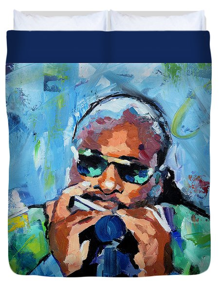 Duvet Cover featuring the painting Stevie Wonder by Richard Day